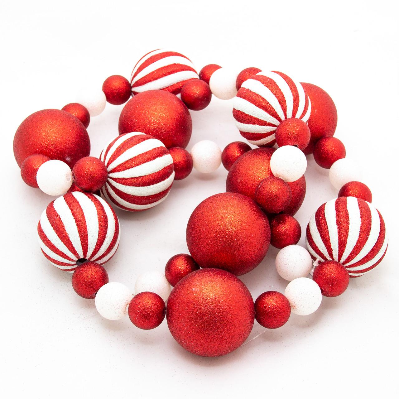 Новогоднее украшение - гирлянда из шаров, 1,8 м, красный, белый, пластик (110049-3)