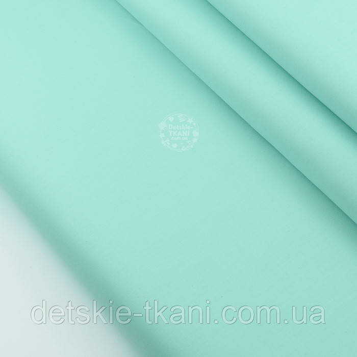 Лоскут сатина однотонного мятного цвета № 2162с, размер 38*80 см