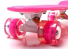 Penny Board. Pink. Гравировка. Светящиеся колеса., фото 2