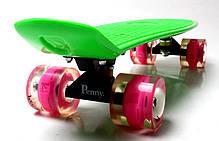 Penny Board. Green. Светящиеся малиновые колеса., фото 2