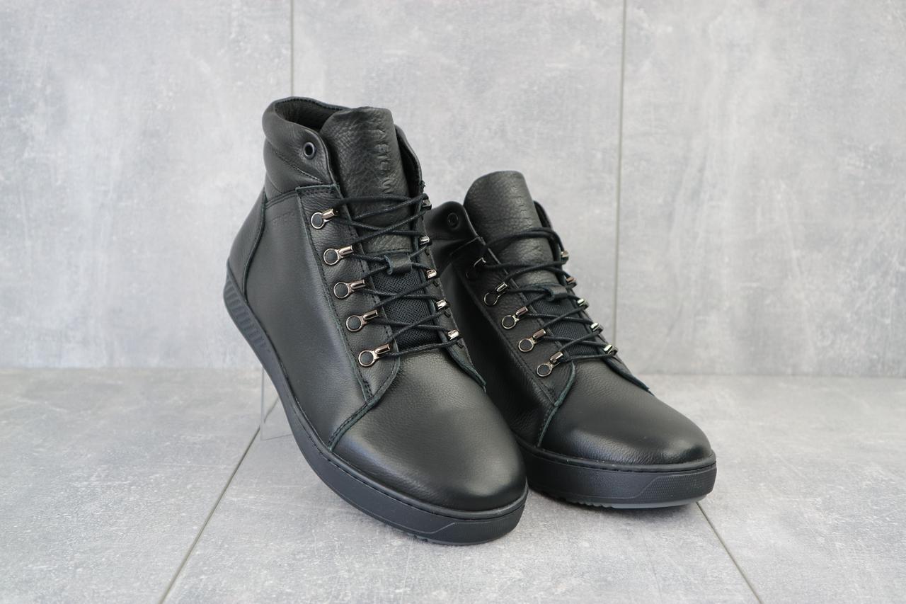 Мужские ботинки кожаные зимние черные StepWey 7260+