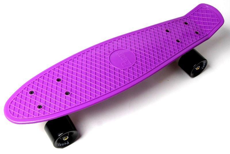 Penny Board. Фиолетовый цвет. Черные колеса.