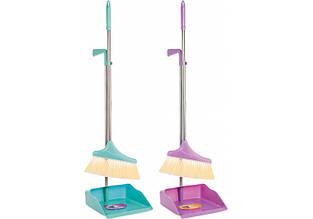 Набор для уборки Optima cleaning: совок + щетка с длинной хромированной ручкой, 26х90 см