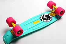 Penny Board. Бирюзовый цвет. Гравировка, фото 3