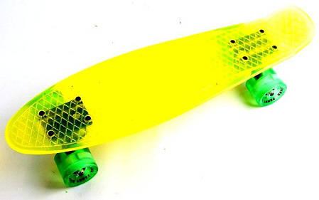 "Пенниборд ""Crystall"" Yellow Светящиеся колеса, фото 2"