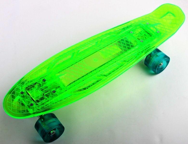 """Прозрачный Penny Board """"Light Side"""" Green. Дека и колеса светятся! Встроенная батарея!"""