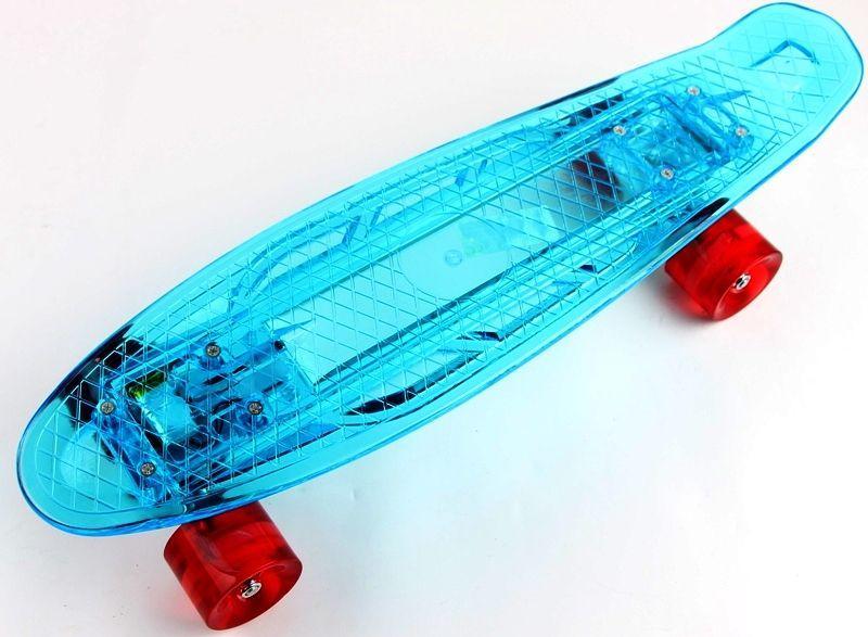 """Прозрачный Penny Board """"Light Side"""" Blue. Дека и колеса светятся! Встроенная батарея!"""