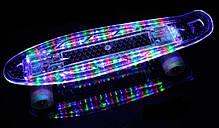 """Прозрачный Penny Board """"Light Side"""" Blue. Дека и колеса светятся! Встроенная батарея!, фото 3"""