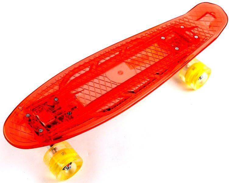 """Прозрачный Penny Board """"Light Side"""" Red. Дека и колеса светятся! Встроенная батарея!"""