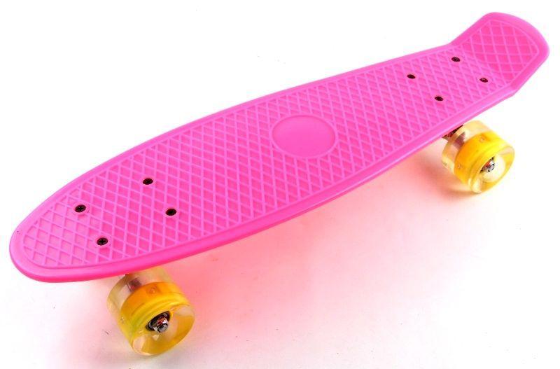 Penny Board Pink Светящиеся желтые колеса.