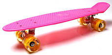 Penny Board Pink Светящиеся желтые колеса., фото 2