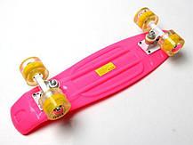 Penny Board Pink Светящиеся желтые колеса., фото 3