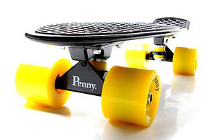 Penny Board. Черный цвет. Желтые колеса, фото 2