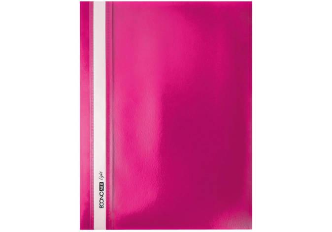 "Папка-швидкозшивач А4 Economix Light без перфорації, фактура ""помаранч"", рожева, фото 2"