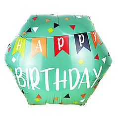 Фол шар фигура ХБ Шестиугольник мятный Happy Birthday разноцветные флажки (Китай)