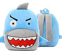 """Детский рюкзак для любимых малышей """"Акула"""" маленький синий серый плюшевый дошкольный ранец мальчику"""