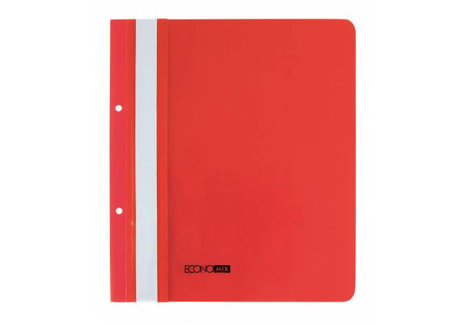 "Папка-швидкозшивач А5 Economix з перфорацією, фактура ""глянець"", червона, фото 2"