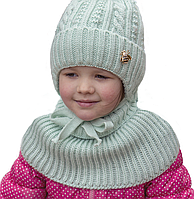 Вязаная детская шапка для девочки с двумя помпонами, фото 1