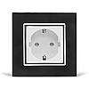 Розетка с заземлением Livolo, черная/белая, хром, стекло (VL-C7C1EU-12/11C)