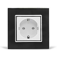Розетка с заземлением Livolo, черная/белая, хром, стекло (VL-C7C1EU-12/11C), фото 1