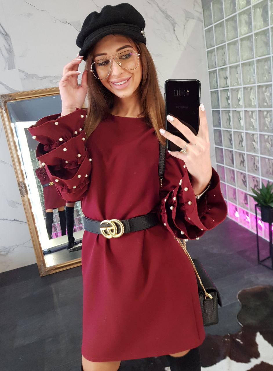 Женское нарядное платье с жемчугом,бордового цвета