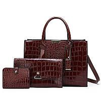 Набор сумок 3 в1 коричневый из качественной экокожи лаковый, фото 1