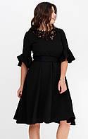 Вечернее платье из костюмной ткани с гипюром черного цвета. Модель 20141. Размеры 50-56