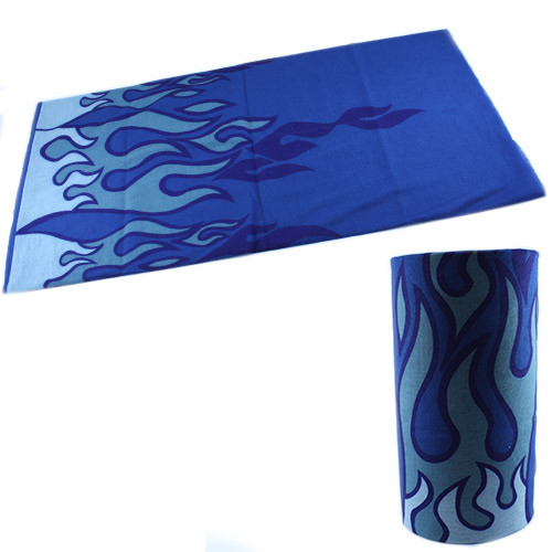 Бафф бандана-трансформер, шарф из микрофибры, синий огонь
