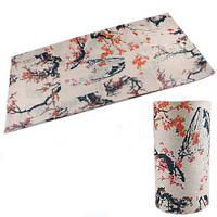 Бафф бандана-трансформер, шарф из микрофибры, цветение сакуры