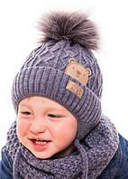 """Детская шапка """"Медвежонок"""" джинс (44-48, подкладка флис)"""