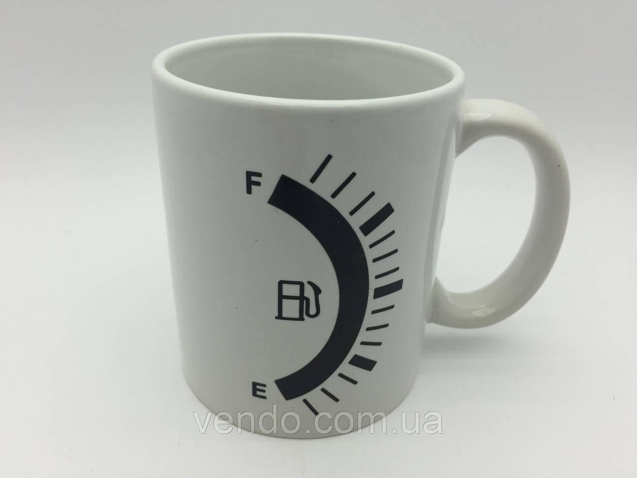 Кружка-чашка хамелеон Бензоколонка/Заправка белая