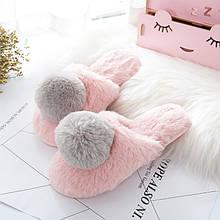 Тапочки с помпоном (розово-серые)