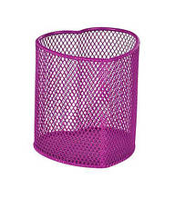 """Подставка-стакан для ручек металлическая сетка ZiBi """"Сердце"""" розовый 90*90*100 мм."""