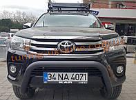 Дуга передняя на Toyota Hilux 2019+ Защита переднего бампера кенгурятник передний низкий черный матовый