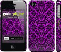 """Чехол на iPhone 4 фиолетовый узор барокко """"1615c-15"""""""