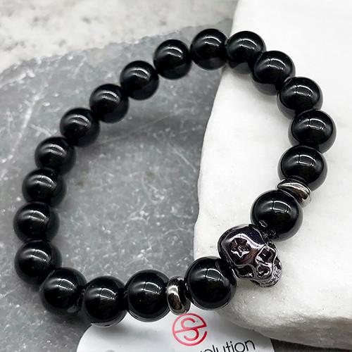 Мужской браслет из стали и натуральных камней 6 см 172361