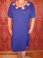 Батальное платье из вискозы ,електрик , размеры 58,60,62