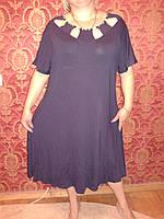 Батальное платье из вискозы , темно-синее , размеры 58, фото 1