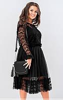 Вечернее платье из гипюра черного цвета. Модель 19517. Размеры 48-58