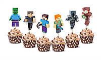 """Топперы для капкейков, десертов и кексов фигурные """"Майнкрафт"""", 6 шт/уп."""