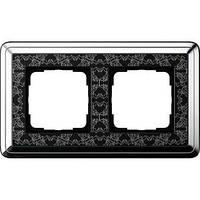 Рамка Gira ClassiX Art 2 п., хром черный (0212682)