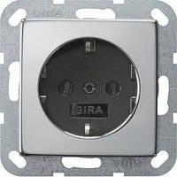 Розетка Gira System 55 2К+З, без захватов, хром черный (0466605)