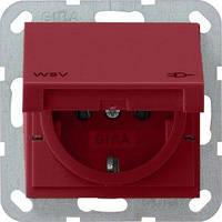 Розетка Gira System 55 2К+З, крышка, WSV, красный (010402)