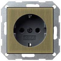 Розетка Gira System 55 2К+З, без захватов, бронза черный (0466603)