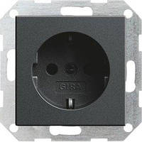 Розетка Gira System 55 2К+З, без захватов, антрацит (046628)