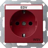 Розетка Gira System 55 2К+З, поле для надписи, WSV, красный (047402)