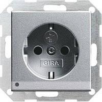 Розетка Gira System 55 2К+З, LED подсветка, шторки, алюминий (117026)