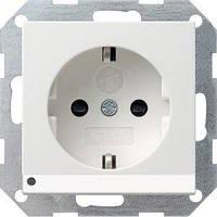 Розетка Gira System 55 2К+З, LED подсветка, шторки, белый (117003)