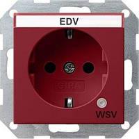 Розетка Gira System 55 2К+З, контрольная подсветка, поле для надписи, WSV, красный (268302)
