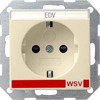 Розетка Gira System 55 2К+З, шторки, WSV, кремовый (042101)